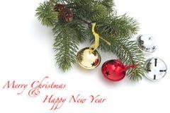 Kerstmis en de nieuwe achtergrond van de jaardecoratie Royalty-vrije Stock Afbeeldingen