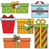 Kerstmis en de nieuwe dozen van de Jaargift Seizoengebonden de winter stelt reeks voor Kleurrijke vectorpictogrammen vector illustratie