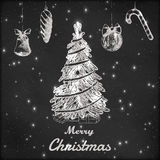 Kerstmis en de Nieuwe getrokken vectorillustratie van het jaarkrijt hand Royalty-vrije Stock Foto's