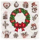 Kerstmis en de Nieuwe illustratie van de jarenvakantie Stock Afbeelding