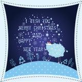 Kerstmis en de nieuwe kaart van de jaargroet Royalty-vrije Stock Foto