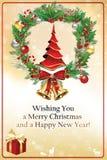 Kerstmis en de nieuwe kaart van de jaargroet Royalty-vrije Stock Afbeelding