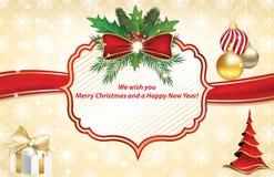 Kerstmis en de nieuwe kaart van de jaargroet Royalty-vrije Stock Afbeeldingen