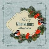 Kerstmis en de nieuwe kaart van de jaargroet stock illustratie