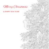 Kerstmis en de nieuwe kaart van de jaargroet Hand getrokken Kerstmisboom Royalty-vrije Stock Afbeelding