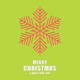 Kerstmis en de nieuwe kaart van de jaargroet Malplaatjesneeuwvlokken Stock Fotografie