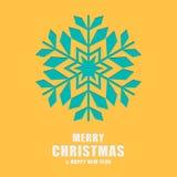 Kerstmis en de nieuwe kaart van de jaargroet Malplaatjesneeuwvlokken Royalty-vrije Stock Afbeeldingen