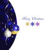 Kerstmis en de nieuwe kaart van de jaargroet met snuisterijen en plaats voor tekst Royalty-vrije Stock Afbeelding