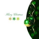 Kerstmis en de nieuwe kaart van de jaargroet met snuisterijen en plaats voor tekst Royalty-vrije Stock Afbeeldingen