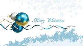 Kerstmis en de nieuwe kaart van de jaargroet met snuisterijen en ruimte voor tekst Royalty-vrije Stock Afbeeldingen