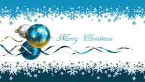 Kerstmis en de nieuwe kaart van de jaargroet met snuisterijen en ruimte voor tekst Royalty-vrije Stock Foto