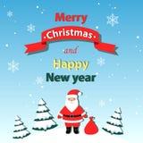 Kerstmis en de nieuwe kaart van de jaargroet Vector illustratie Stock Foto's