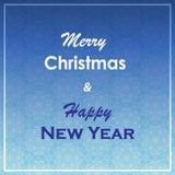 Kerstmis en de nieuwe kaart van de jaargroet Vrolijk Kerstmis en Nieuwjaar het van letters voorzien ontwerp De achtergrond van de Stock Afbeelding