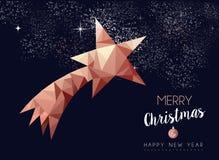 Kerstmis en de nieuwe kaart van de de luxegroet van het jaarkoper stock illustratie