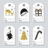 Kerstmis en de nieuwe markeringen van de jaargift De gouden reeks van kaartenkerstmis Hand getrokken element Inzameling van vakan vector illustratie