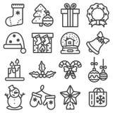 Kerstmis en de Winter geplaatste pictogrammen Royalty-vrije Stock Fotografie
