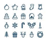 Kerstmis en de Winterpictogrammeninzameling - vector Royalty-vrije Stock Foto's