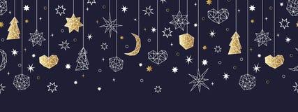 Kerstmis en Gelukkig Nieuwjaar gouden naadloos patroon royalty-vrije illustratie