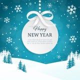 2018 Kerstmis en Gelukkige de kaartachtergrond van de Nieuwjaargroet met sneeuwvlokken Het landschapsachtergrond van de de winter Stock Afbeeldingen