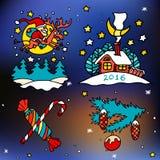 Kerstmis en gelukkige nieuwe 2016 jaar vectorbeeldverhaalpictogrammen Royalty-vrije Stock Foto