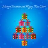 Kerstmis en gelukkige nieuwe jaarprentbriefkaar royalty-vrije illustratie