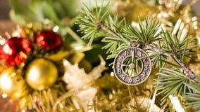Kerstmis en gelukkige nieuwe jaarprentbriefkaar Stock Fotografie