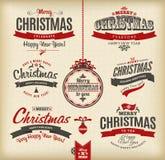 Kerstmis en het gelukkige nieuwe jaar letteting vector illustratie