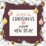 Kerstmis en het gelukkige nieuwe jaargoud en namen verfraaid goud toe Stock Foto