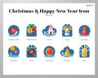 Kerstmis en het gelukkige nieuwe vlakke pak van jaarpictogrammen vector illustratie