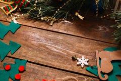 Kerstmis en het nieuwe decor van de jaarvakantie Stock Fotografie