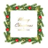 Kerstmis en het Nieuwe kader van de jaarboom met spartakken Stock Afbeeldingen