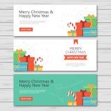 Kerstmis en het nieuwe vlakke ontwerp van de jaarbanner royalty-vrije illustratie