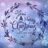 Kerstmis en het Nieuwjaar typografisch op achtergrond met de winterlandschap met sneeuwvlokken, licht, spelen mee De kaart van Ke royalty-vrije illustratie