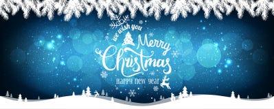 Kerstmis en het Nieuwjaar typografisch op vakantieachtergrond met sneeuwvlokken, licht, spelen mee stock illustratie