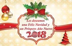 Kerstmis en het Nieuwjaargroetkaart van de de wintervakantie in Spaanse Taal vector illustratie