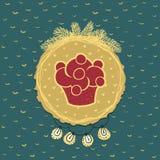 Kerstmis en Nieuw het hele jaar door kader met cupcakesymbool De kaart van de groet Stock Foto's
