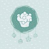 Kerstmis en Nieuw het hele jaar door kader met cupcakesymbool De kaart van de groet Royalty-vrije Stock Afbeelding