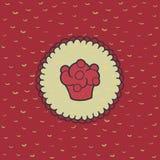 Kerstmis en Nieuw het hele jaar door kader met cupcakesymbool De kaart van de groet Royalty-vrije Stock Afbeeldingen