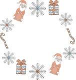 Kerstmis en nieuw jaarmalplaatje Rond kader van Santa Clauses, sneeuwvlokken, giften, suikergoedriet op een witte achtergrond royalty-vrije illustratie