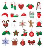 Kerstmis en nieuwe geplaatste jaarstickers Royalty-vrije Stock Afbeeldingen