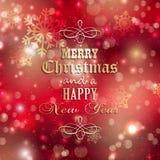 Kerstmis en nieuwe jaarachtergrond Stock Afbeelding