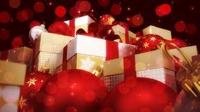 Kerstmis en nieuwe jaarachtergrond met ballons en giften Royalty-vrije Stock Afbeeldingen