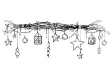 Kerstmis en nieuwe jaardecoratie Feestelijke slinger vectorschets stock illustratie