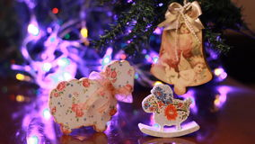 Kerstmis en nieuwe jaardecoratie Knipperende Slinger stock footage