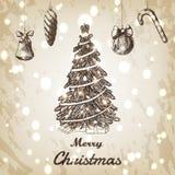 Kerstmis en Nieuwe jaarhand getrokken vectorillustratie Kerstmisboom met ornamentenschets Royalty-vrije Stock Afbeeldingen