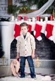 Kerstmis en nieuwe jaarjongen Stock Foto's