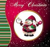 Kerstmis en nieuwe jaarkaart met sneeuwman Royalty-vrije Stock Afbeelding