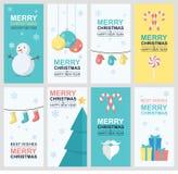 Kerstmis en nieuwe jaarkaart in vlak ontwerp Stock Foto