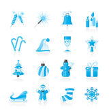 Kerstmis en nieuwe jaarpictogrammen Stock Afbeelding