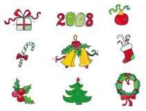 Kerstmis en nieuwe jaarpictogrammen Royalty-vrije Stock Foto's
